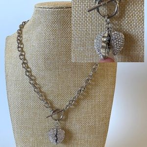 Jewelry - Reversible Broken Heart Sparkly Toggle Necklace